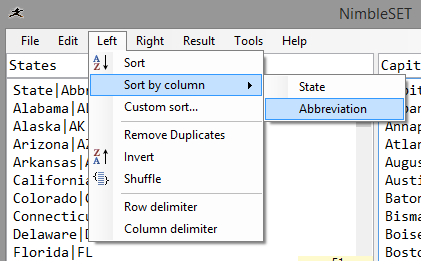 Sort by any column